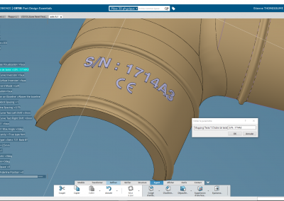 Text Raised up Pad Mapped CATIA